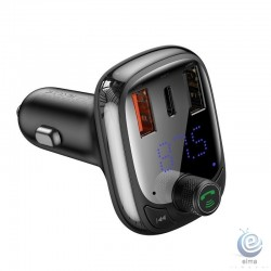 Incarcator Auto Baseus Quick Charge 4.0 USB / USB-C cu Modulator FM, Bluetooth 5.0, Player Audio si Cititor Card MicroSD